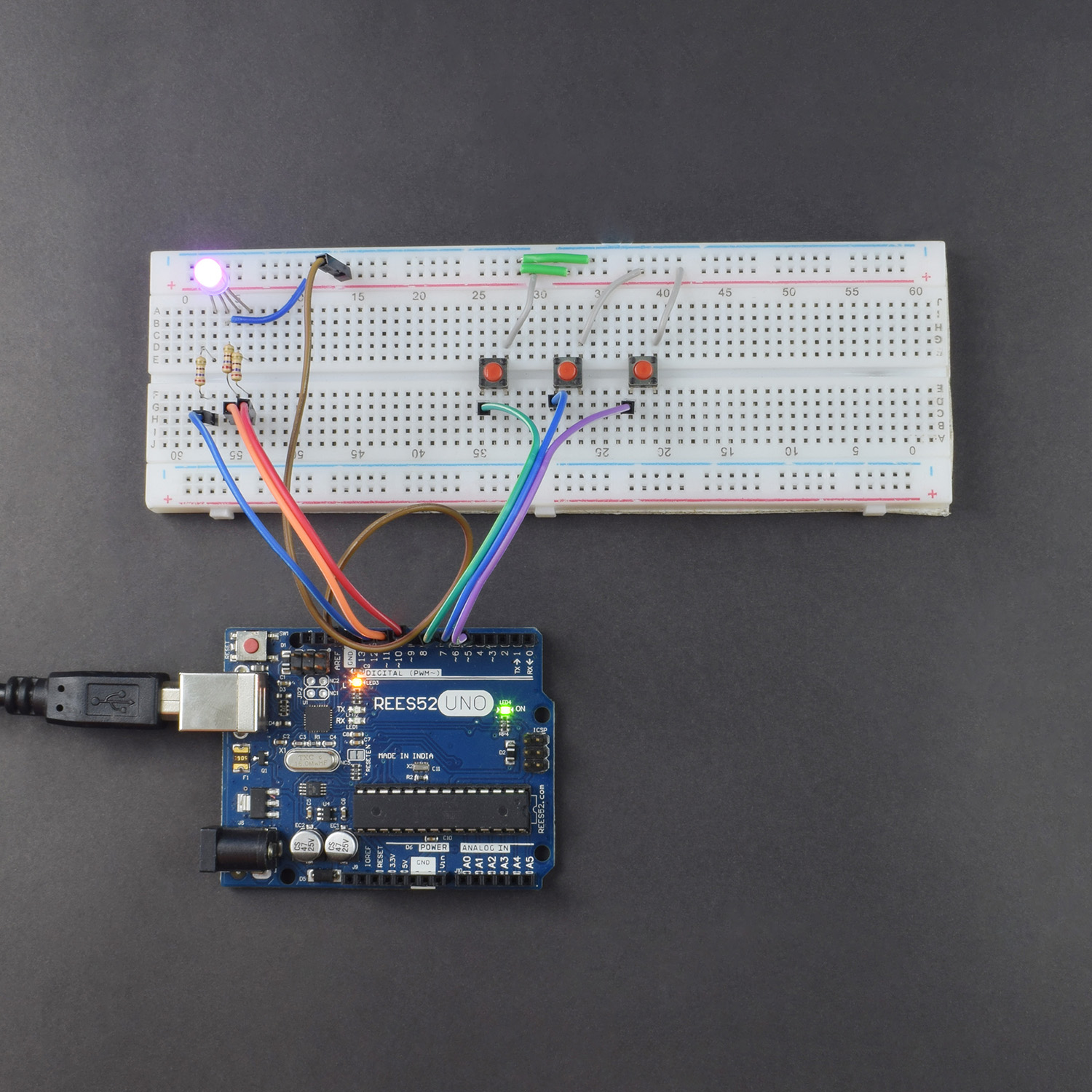 Control a RGB Led using push button to change colour interfacing