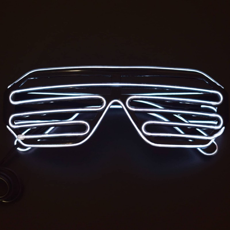 Light Up Flashing Shutter Neon Rave Glasses El Wire LED Sunglasses Voice Activated Glow DJ Costumes - RS1628