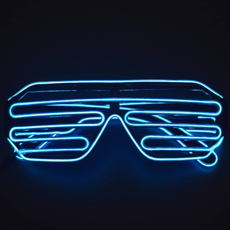 Light Up Glasses Glowing Glasses EL Wire Neon Glasses for Halloween Disco Bar Glowing Party Mask Decor ( Light Blue) - RS1626