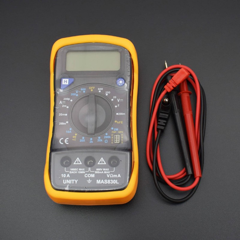 MAS830L Multimeter Digital Ohm AC/DC Volt Amp and Diode Transistor Tester Meter - RS1183