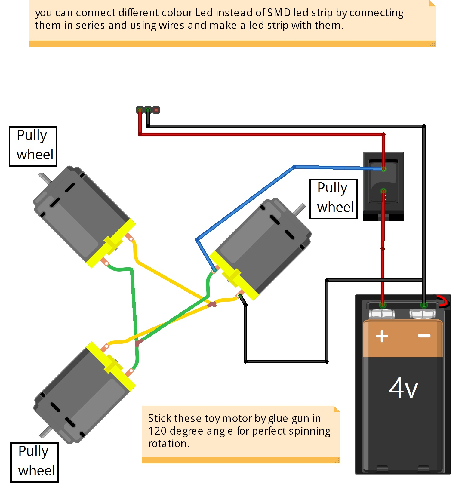 Make a spinner using Toy Motor and SMD Led strip - KT805 ... Toy Motor Wiring Diagram on