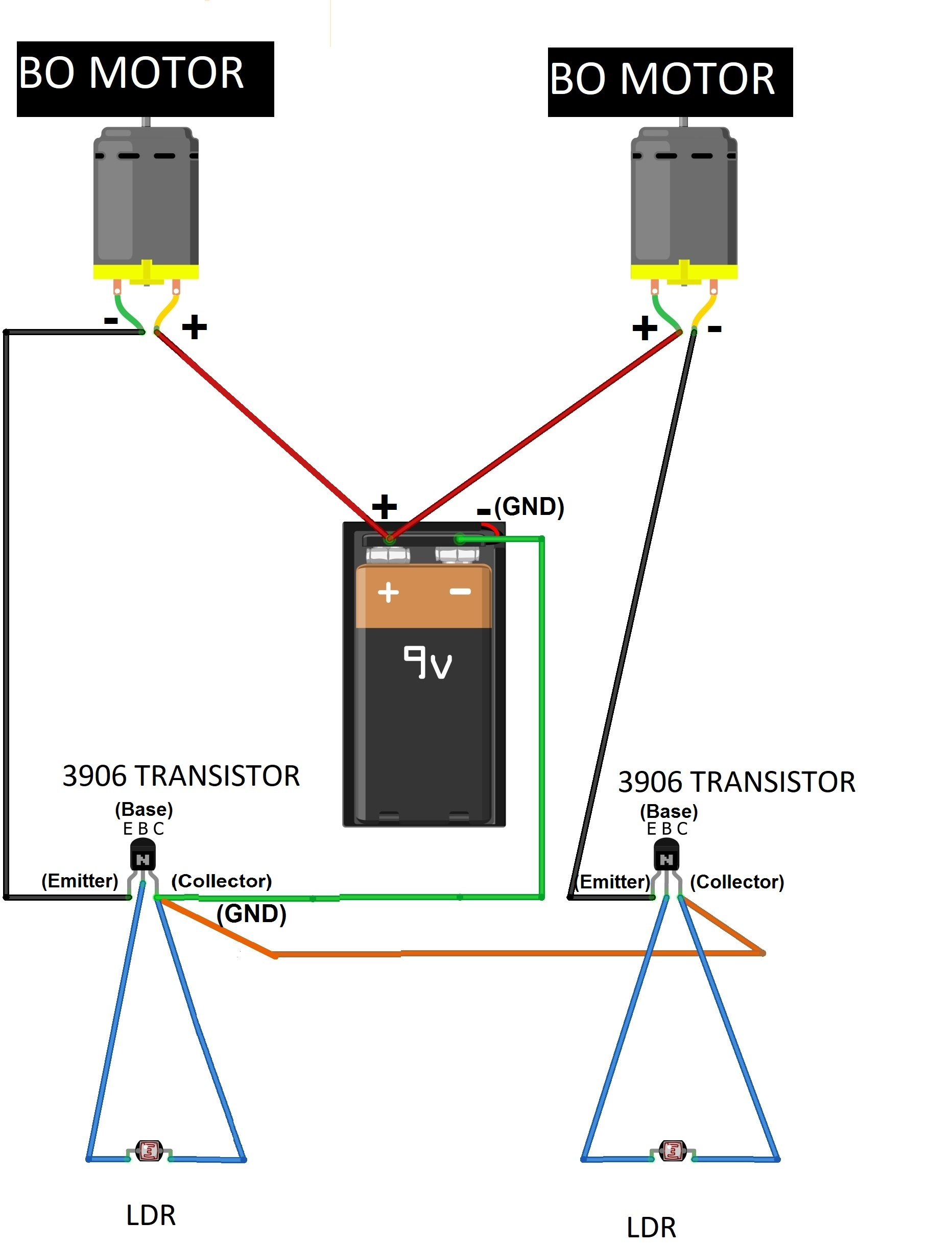 Make A Robot Car Using Ldr And Transistor 3906 Kt888 Rees52 Circuit Diagram Lastly It Should Be Made Sure That All The Connections Are In An Appropriate Manner